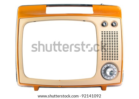 An old monochrome display TV, isolated on a white background.