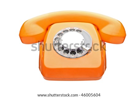 An old orange phone isolated on white background