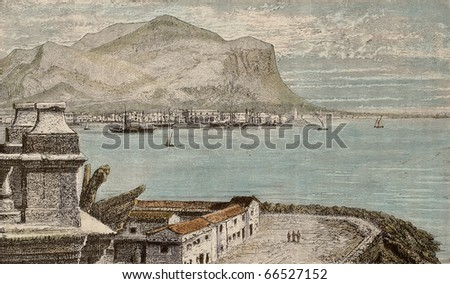 An old print shows a view of Palermo bay from Porta Felice roof terrace. The original engraving may be dated to the second half of 19th c.