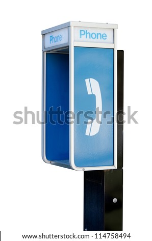 An old public telephone booth isolated on a pure white background.