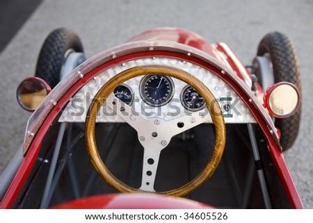 An old racing car cockpit