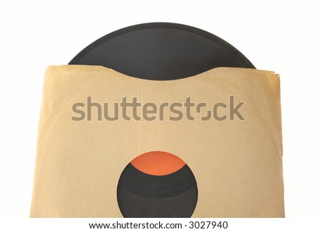 an old 78 record with a red label in a plain brown paper sleeve isolated on white