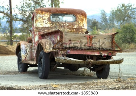 An old red truck.