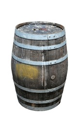 An old Rum Barrel sits on a wooden board walk. old dirty wooden keg or rum barrel. Isolated on white.