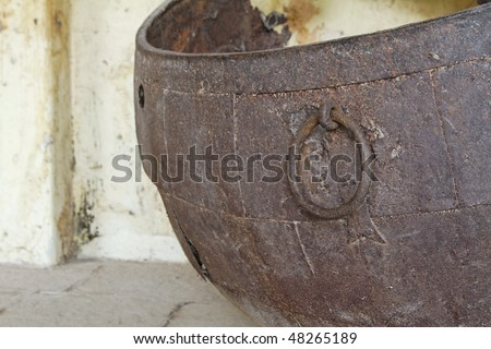 An old rusted Sixteenth century Mogul Urn