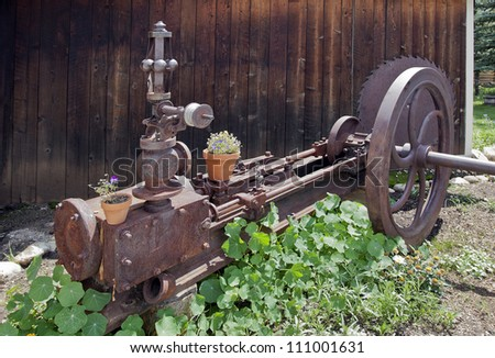 An Old Rusty Machine Putted in the Garden.