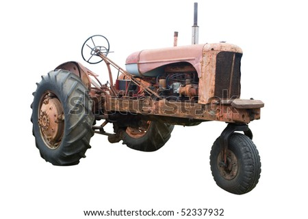An Old Rusty Tractor Isolated on White