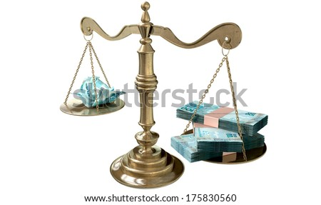 An old school bronze justice scale with stacks of brazilian real money on one side and a few crumpled notes on the other representing the inequality in the income gap  an isolated white background
