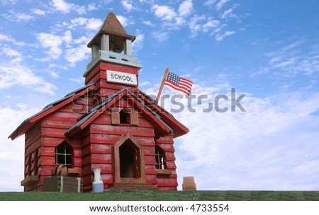 An old school house isolated over a white background