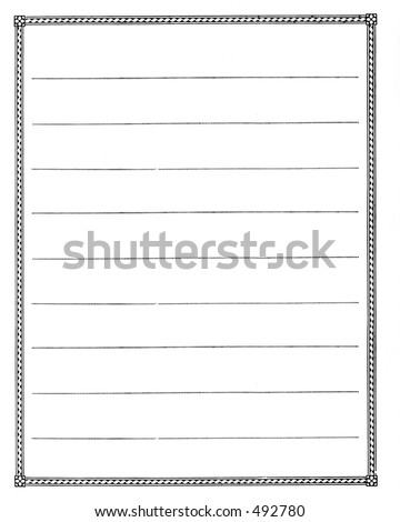 An old sheet of striped white paper with a fancy border