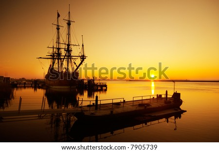 An old ship and sunset