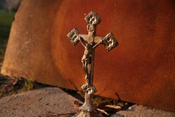 An old silver cross with the body of Jesus Christ
