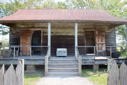 an old slave cabin on a plantation in Louisiana