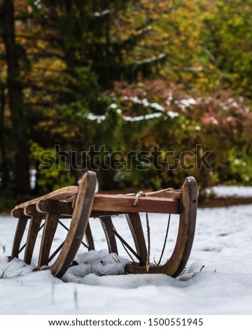 An old sled in the snow in a part of Germany ストックフォト ©