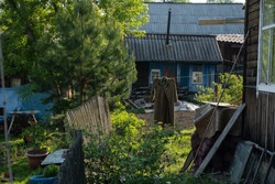 An old Soviet military tunic hangs in the village