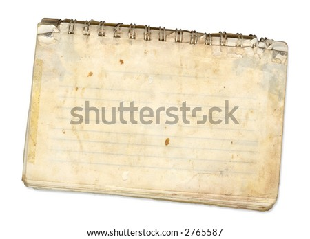 an old spiral bound pad used for recipes