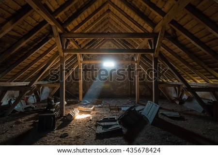 An old spooky attic of a house