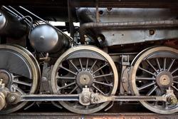 An old steam locomotive in a garage in Austria