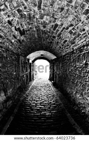 An old stone tunnel in Edinburgh, Scotland.