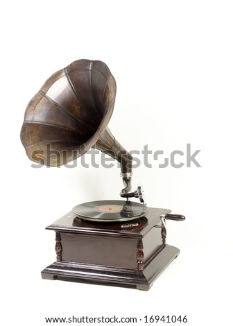 an old style gramophone - stock photo