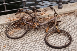 An old sunken Bicycle that was pulled out of the water