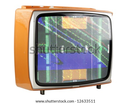 an old television with static on screen - stock photo