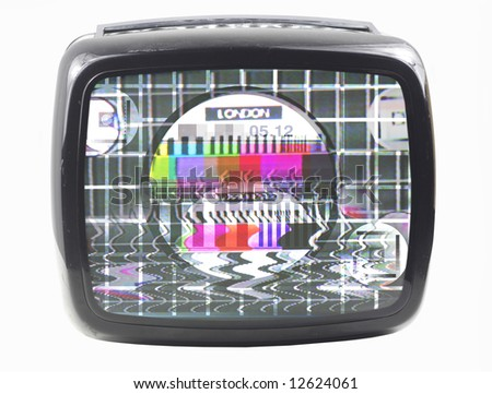 an old television with testcard on screen