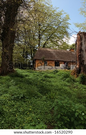 an old thatched cottage as used by farmers in early irish history in Bunratty folk park