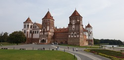 An old-time castle made of red brick in Mir. Grodno region, Belarus