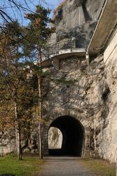 An old train tunnel in central Switzerland near the village of Brunnen
