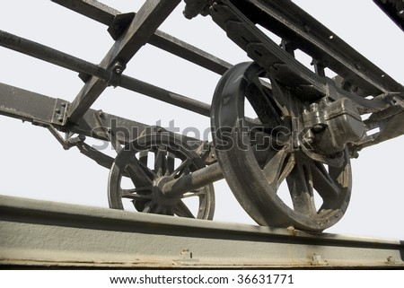 An old train wagon structure seen from an unusual perspective.