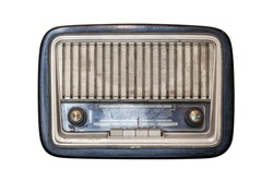 An old transistor radio, with knobs and buttons for manual tuning. Ancient object, worn and ruined by time. Isolated on white background. Antiques