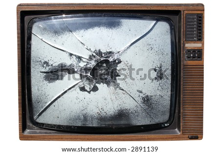 An old trashed TV with a smashed screen, isolated on a white background.