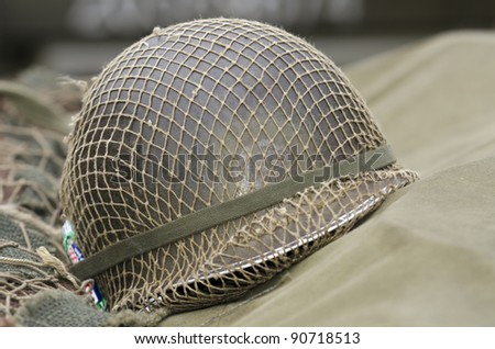 an  old us army helmet