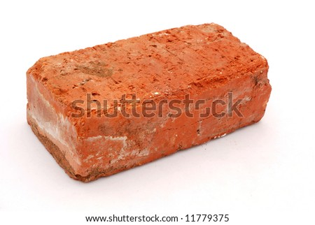 An old used red brick isolated on white background