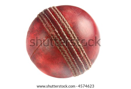 An old used red cricket ball, isolated on a white background.