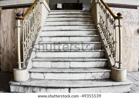 An old vintage and grunge looking stone stairs
