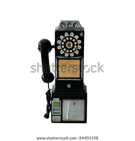 An old vintage public pay phone isolated over white - stock photo
