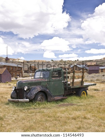 An old vintage truck rests where it died in a California gold rush ghost town