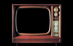 An old vintage tv, looking like a children's toy, with a black screen. Straight front shot.