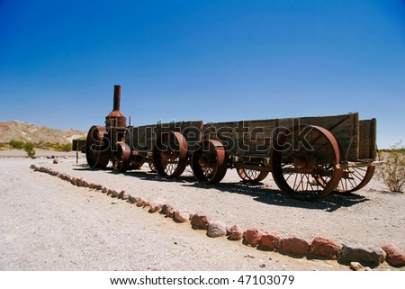 An old wagon in the Death Valley. California. United States
