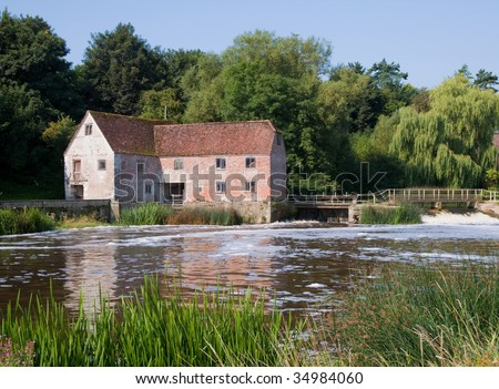 An old water mill on the river stour in Dorset, UK