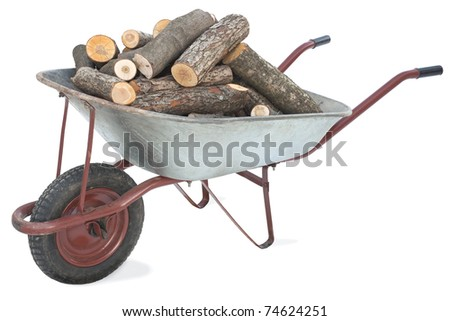 An old wheelbarrow full of firewood on a white background