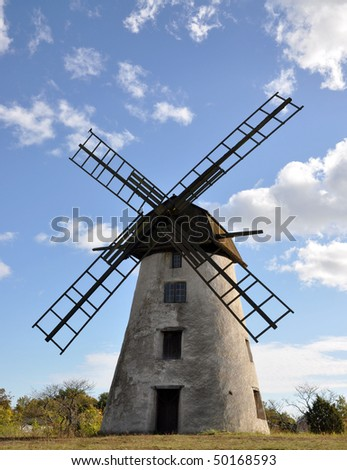 An old windmill on the island Gotland in Sweden.
