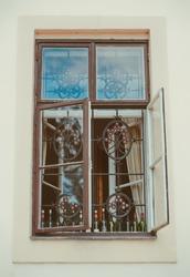 an old window with unusual window grill. Czech Republic, Prague