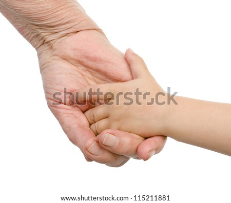 An old woman and a kid holding hands together. isolated on white background