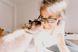 An old woman with glasses smiling and kissing his cat on his bedroom during a super bright day