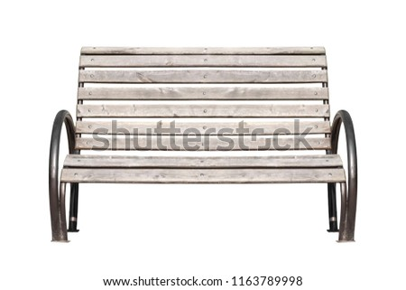 An old wooden bench isolated on white background. Classic wooden bench.