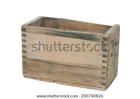 An old wooden box isolated on a white background