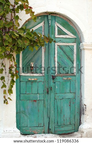 an old wooden door in a village on the island of Rhodes, Greece
